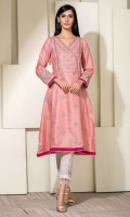 Golden weave cotton net in a fresh pink, with traditional embroidery and overlap neckline.