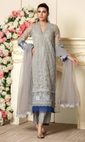 Grey net shirt with embroidery in self grey sequins, embroidered fabric and blue borders. It comes with a net dupatta.