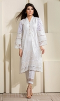 A classic all white with loads of embroidery, pleating and fabric variations.