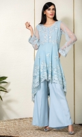 Sky blue net peplum with embroidery and handwork on yoke and sleeves., with a bias cut peplum in embroidered net.