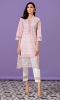 Pink chikan shirt with lawn panels, white lace details, pleating and scallops and white and silver embroidery ,with a mock sheesha work on collar.