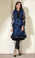 Blue & black net frock with pleating and black accents and edgings.