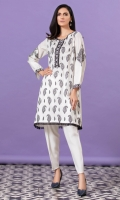 White shirt with black single stitch paisley pattern embroidery all over and embroidered borders and black fringe lace on hem.