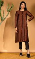 Chocolate brown woven jamawar shirt with black piping and button detail.