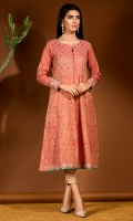 Multi panel frock in a coral maysoori fabric with delicate embroidery all over.