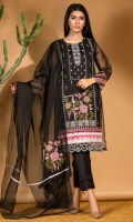 We are in love with cross-stitch embroidery this season.A classic black organza shirt and dupatta with detailed cross stitch embroidery all over in shades of pinks and green set on a monochrome black&white background.