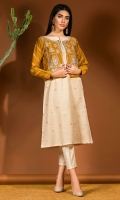 Crème colored shirt with a mustard waist coat fully embroidered with mirror detailing, and gota accents.