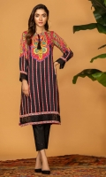 Digital print shirt with paisley and vertical lines, and embroidered hem and sleeves cuff.