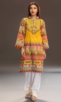 """Digital print yellow shirt inspired the world famous """"truck art"""" of the sub continent, this shirt has an embroidered yoke neckline and hand made tassels and dori detail."""