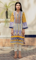 Perfect for summer, a loose fit lawn shirt in digital print in lovely shades of yellow, cream and blue.