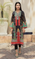 Digital print lawn shirt with collar and fabric scallop extensions.