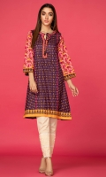Digital print flared shirt with embroidered neckline.