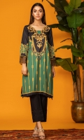 We love this Bold and strong green&gold digital print shirt with embroidered border on sleeves, black drops on hem and a scallop cut neckline