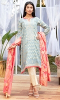 Custom made jacquard fabric in a lovely grey , done with an embroidered neckline with mirror work, and gold embroidery on sleeves and hem layered on top of coral organza.It comes with a coral custom made jacquard dupatta.