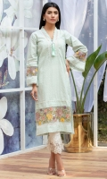 A soft muted mint chikan shirt with lace details, one handmade tassel in resham, and adding that wow is the organza inserts with multi color embroidery.