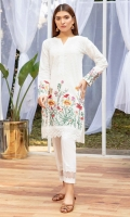 The perfect white chikan shirt for your summer wardrobe, done in a straight fit and multi color botanical embroidery on hem and sleeves.