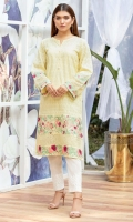 Soft yellow chikan shirt multi color embroidered border & inserts on hem & sleeves.