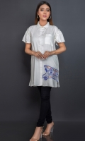 White button down in a soft fabric with a gathers detail on sleeves, pocket and one truck motif on side.