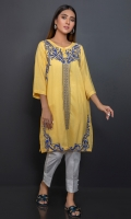 Soft yellow self textured shirt with bright blue embroidery on front.