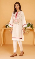 A classic white karandi shirt with embroidered neckline and contrasting maroon piping and patch tapes.