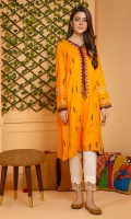 A classic summer shirt in tarkashi fabric in an Indian saffron shade with intricate embroidery and mirror work detail.