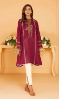 Deep maroon paneled frock with burnt orange embroidery and print and white lace inserts.