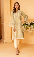 Neutral tone base with white embroidery all over, lace inserts and top stitch detail on a classic straight kurta is the ideal summer wardrobe staple piece.