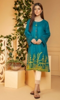 Solid self textured cotton shirt in a deep teal color with contrasting orange embroidery on hem and top stitch & pom pom detail on neckline and sleeves.