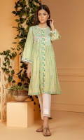 Soft mint green self textured cotton frock with multi color embroidery on yoke and all over the front with mirror work and lace details.