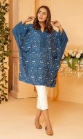 Blue batwing shirt with all over embroidery in geometrical pattern and solid blue collar and cuffs.
