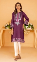 Deep plum summer karandi kurta with pink intricate embroidery on neckline, hem and sleeves in shades of pink, magenta and black& white.