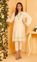 A classic white tarkashi shirt with light multi color traditional embroidery in a 3 panel kurta.