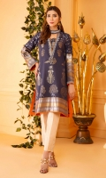 Custom made jacquard fabric with an embroidered neckline and burnt orange contrasting piping.