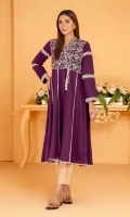 Deep plum multi panel frock with beige embroidery on yoke, with tassel detail, and pleating and lace insert details.