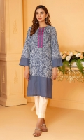 Emboss print all over the front and sleeves on blue slub lawn shirt with an embroidered neckline in pink.