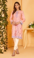 Light peach lawn shirt with a fully embroidered front and grey embroidered borders on hem and sleeves.