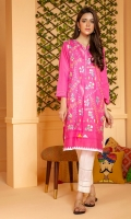 Hot pink slub lawn shirt with over an embroidered front and fabric detailing on hem.
