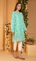 Light garden mint color shirt with an overall print in a soft summer print with gathered sleeves.