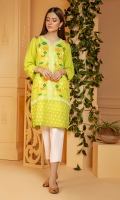 Vibrant lime green shirt in a summer karandi fabric with multi color emboss print.