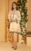 Beige 3 panel A line kurta with folk embroidery on neckline and black emboss print border on hem and sleeves.