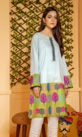 Ice blue tarkashi cotton shirt with contrasting olive borders and bold colorful leave pattern embroidery.