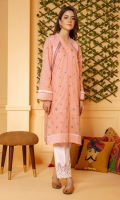 Self textured cotton shirt in peach color with all over embroidery and lace detailing.