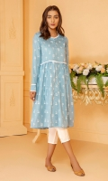 Slub lawn frock in a lovely English blue shade with white print all over and white lace detail.