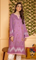 Purple slub lawn shirt with print and embroidery and contrasting pink piping.