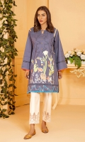 Charcoal grey cotton shirt with self embroidery and lace and pleating detail with a bold botanical embroidery pattern on hem.