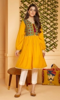 A mustard summer karandi frock with a chintz pattern fully embroidered yoke with maroon tassle, and gathered sleeves.