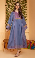 Cotton frock with contrasting embroidery on yoke and sleeves and printed border inserts on front, hem and sleeves.