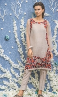 embroidered organza stitched 2pc