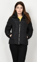 Puffer jacket with lining Long sleeves with elasticized cuffs Hood with faux fur finishing Side zip pockets Front zip closure Color: Black