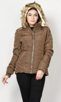 Puffer jacket with faux fur interior Long sleeves with elasticized cuffs Hood with faux fur finishing Side zip pockets Front zip closure Color: Light Brown